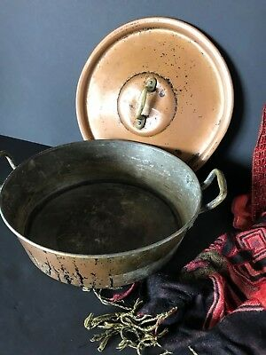 Old Copper Cooking Pot with Lid and solid Brass Handles …beautiful display...