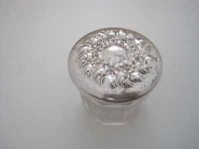 Unger Brs. Floral Early 1900 Jar With Sterling Silver Top - Good Condition