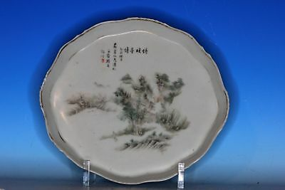 Nice Chinese Republic Period Antique Porcelain Tea Tray Signed