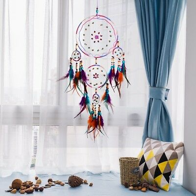 NEW Large Dream Catcher Colorful Feather Wall Home Office Hanging Ornament Gift
