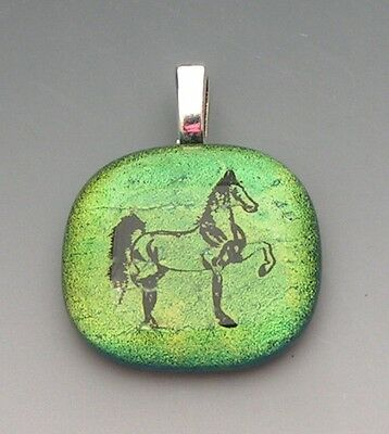 Pale Green to Gold Horse Pendant dichroic fused glass jewelry