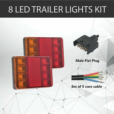 Pair of 8 LED TRAILER LIGHTS KIT - 1 x Trailer Plug, 8M x 5 CORE CABLE 12V