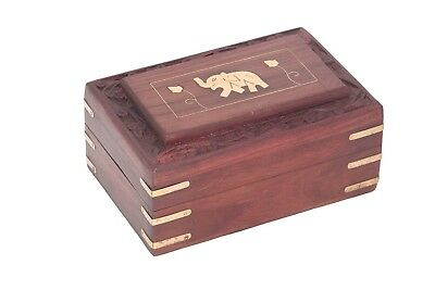 Wooden Handcrafted Jewelry Box Brass Inlay Unique Elephant Design 6 X 4 Inches,