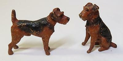2 Old Vintage Miniature Cold Painted Brass AIREDALE or WELSH TERRIER Dog