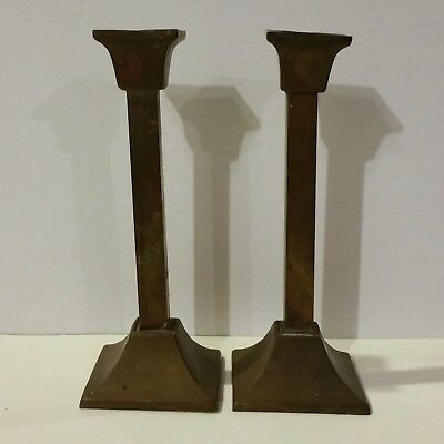 "Pair Antique Arts & Crafts Brass 8"" Candlesticks Square Mission Style"