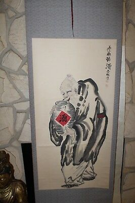 Chinese Scroll Hand Painting Old Man