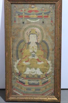 Old Japanese Hand Painted On Silk Antique Buddha Painting In Frame