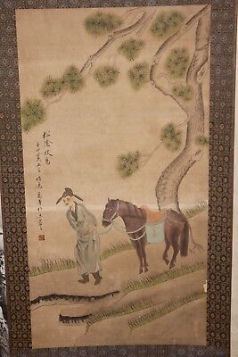 Chinese Scroll Hand Painting Old Scene