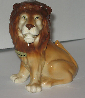 Vintage OMC OTAGIRI Ceramic Lion Coin Bank Japan with Foil Stickers HANDPAINTED