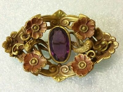 ANTIQUE Brass VICTORIAN Floral ART NOUVEAU SASH Pin Brooch AMETHYST Glass Stone