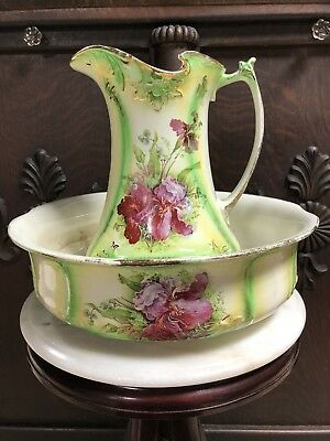 Antique Wash Bowl and Pitcher Green Gold Trim Purple Iris