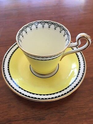 Duchess Cup & Saucer Bone China England Yellow wih black design and Gold Trim
