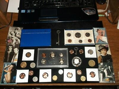 Huge JUNK Drawer Coin lot+Proof Coins+Mint Coins+Old Keys+Trump Dollar+Elvis