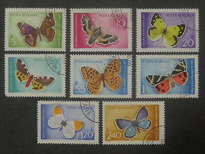 Romania Butterflies and Moths - Set of 8 - 1969 - Good Used/cto Condition