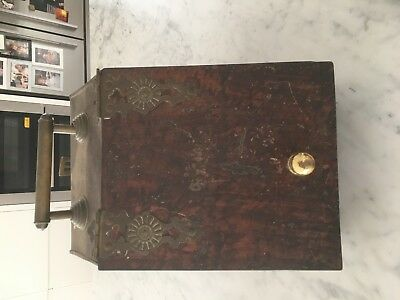Antique scuttle box with brass handle and hearth
