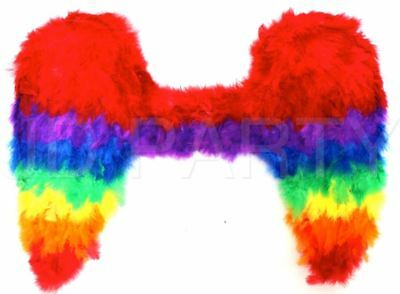 Adult Large Rainbow Feather Angel Wings Mardi Gras Fancy Dress