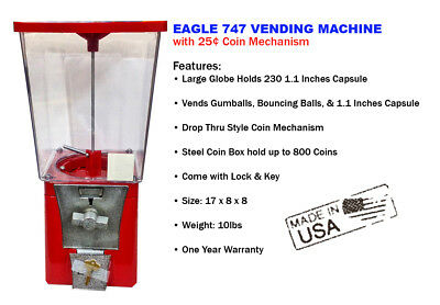Eagle 747 Capsule Toy Gumball Vending Machine with ONE YEAR WARRANTY (NEW)