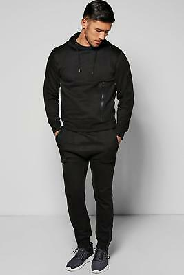 NEW Boohoo Mens Skinny Fit Hooded Tracksuit with Sports Zips in