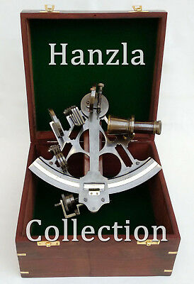 """Vintage Heavy German Working Sextant 9""""Marine Nautical Collectible With Wood Box"""