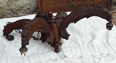Antique French Luster Wood Carved Gothic Dragons 4 Arms Lamp Chandelier Chimera