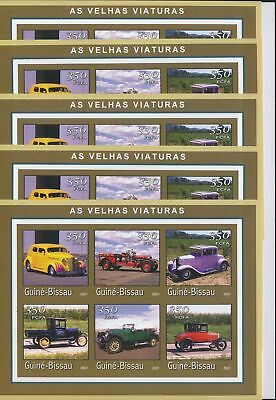 BB4-006 Guinea-Bissau 2001 old timers vehicles cars imperf 5 sheets MNH