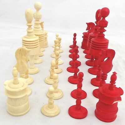 Antique Chess Set German Playing Turned Barleycorn Red Stain Bovine Bone 19th C