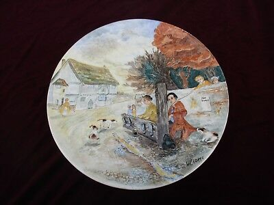 """Large Signed Burleigh Ware Charger 16"""" 'the Stocks' #5497"""