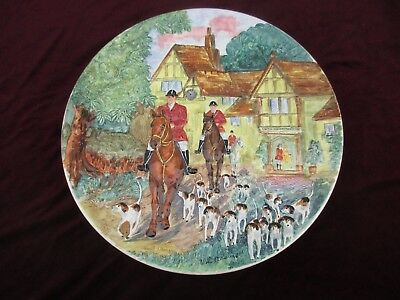 """Large Vintage Signed Burleigh Ware Charger 16"""" 'fox Hunt Scene' #6339 - Hunting"""
