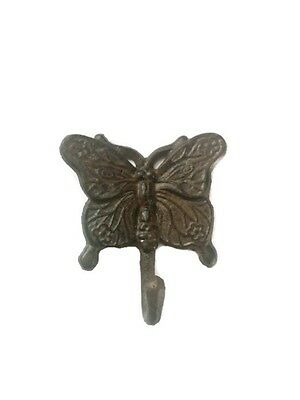 Brown Cast Iron Butterfly Towel Bath Kitchen Garden Shed Wall Hook Home Decor