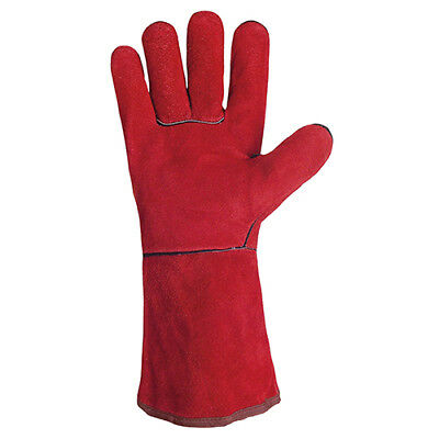Gys Red Cowhide Welding Gloves With Thermal Protection Lining Wide Cuff - Pair