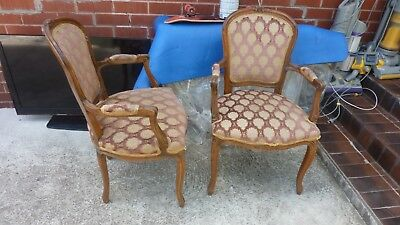 2 x vintage French Louis XV Style  Wooden  Armchairs