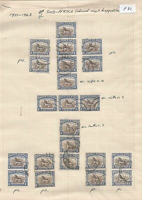 South Africa , 1927-1945 , 1/- To 10/- , Singles , Vertical Pairs Etc On  3 Page