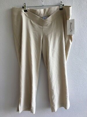 Maternity Plus Size 16 BNWT 3/4 Length Pants Beige Under Belly Waistband