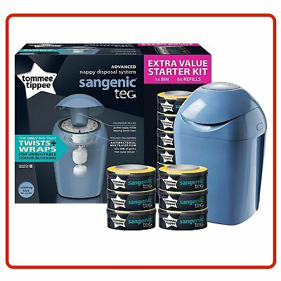 ❤ Blue Tommee Tippee Sangenic Starter Pack Nappy Wrapper System + 6 Free Refill