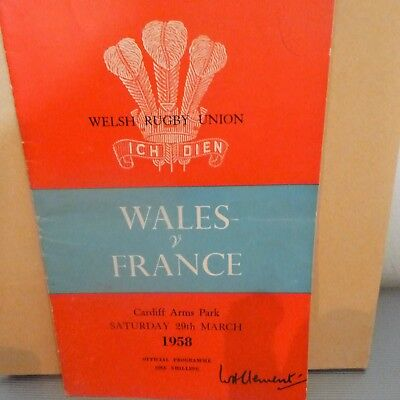 Wales v France Rugby Programme 1958, Autographs of French Team and Menu