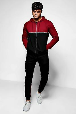 NEW Boohoo Mens Skinny Fit MAN Cut & Sew Tracksuit in Cotton