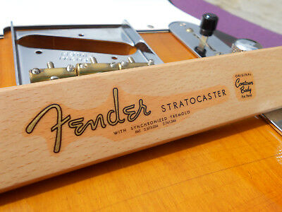 Fender Stratocaster Decal 61-62 Vintage Style (Metallic Gold Logo) Headstock