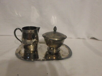 Sterling Silver?? Creamer & Sugar Bowl w/Lid With Tray Made in Hong Kong