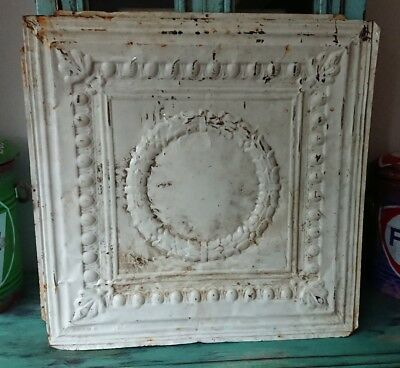 architectural antique salvaged American tin ceiling tile Ohio 1898-1901 large xl