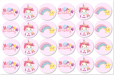 30x Unicorn Rainbow Edible Wafer Circle Cupcake Toppers Decorations  #117