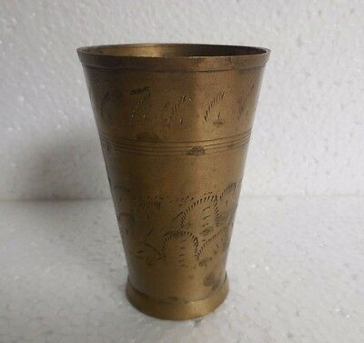 Vintage Brass Handcrafted Indian lassi & milk Glass Goblet.  Collectible