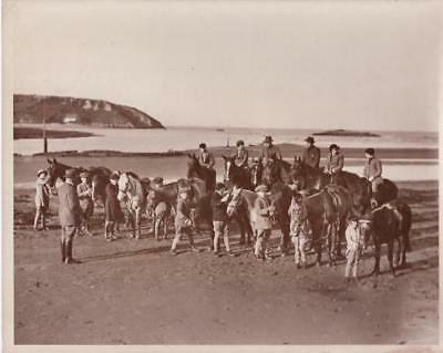 Uphill River Axe Riding Lessons on Sands Leçons equitation plage old Photo 1932