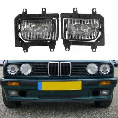 2X Bumper Front Crystal Clear Fog Light Cover For BMW E30 318i 318is 325i 325is