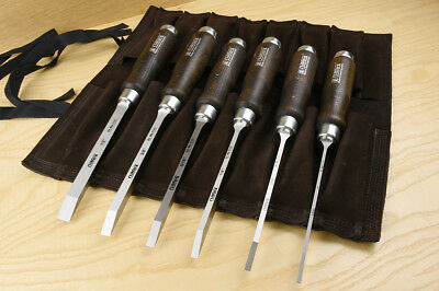 Set of 6 narex mortise chisels (imperial) with leather tool roll