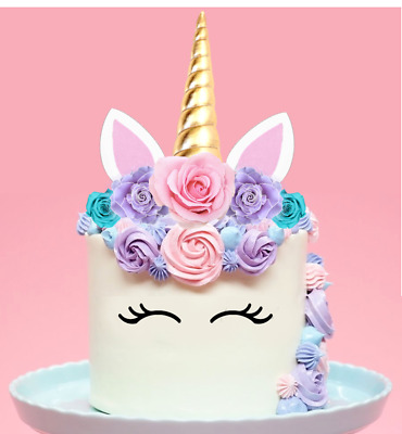 Large Unicorn Horn Pink Lilac Blue Roses Edible Cake Topper Decoration DIY #151