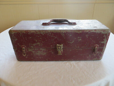 "Vintage Heavy Duty Steel Locking Two Tray Fishing Tackle Box 19"" X 7"" X 7"" Euc"