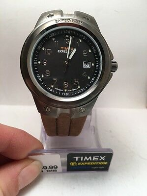 6b9db498e Timex T49631 Men's Expedition Metal Tech Brown Leather Strap Watch  Indiglo-R1B
