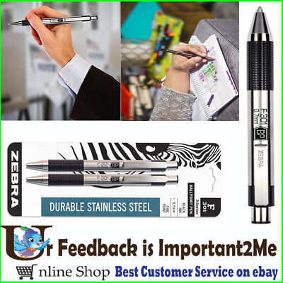 Ballpoint Stainless Steel Retractable Pen Fine Point 0.7mm Black Ink 2 Count