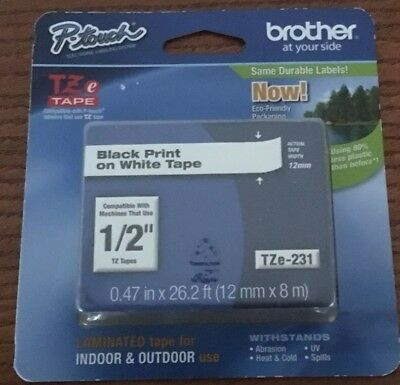 "Brother TZe-231 1/2"" P-Touch Black Print On White Tape"