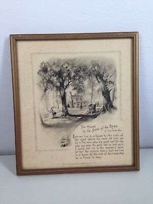 Vintage Buzza Co. Craftacres Framed Poem Print Art SIDE OF THE ROAD